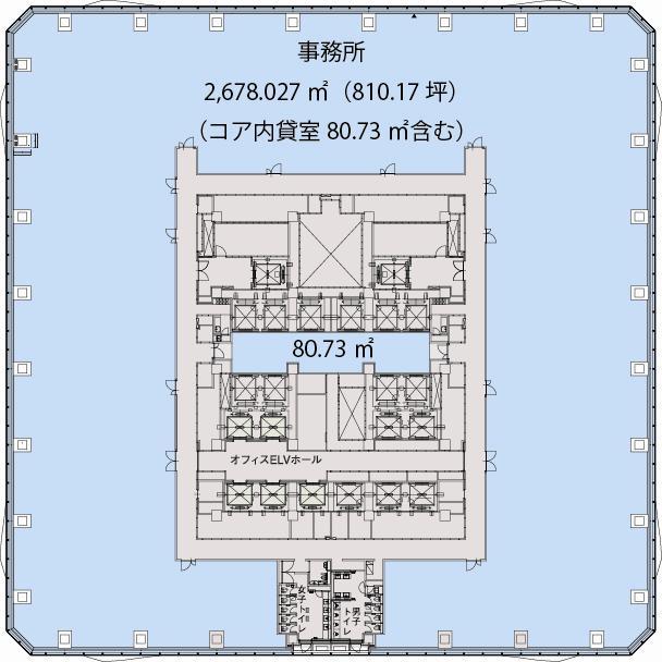 基準階(全方位眺望が取れるワンフロア最大約850坪の無柱空間は、ニーズに合わせた効率的なレイアウトを実現。階)