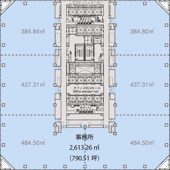 基準階(最大奥行約19mの無柱空間が多様なレイアウトプランを可能に。階)