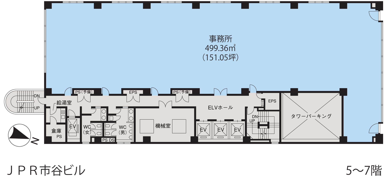 基準階(JPR市ヶ谷ビル5~7階階)