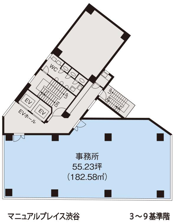 基準階(マニュライフプレイス渋谷 基準階 3~9階階)