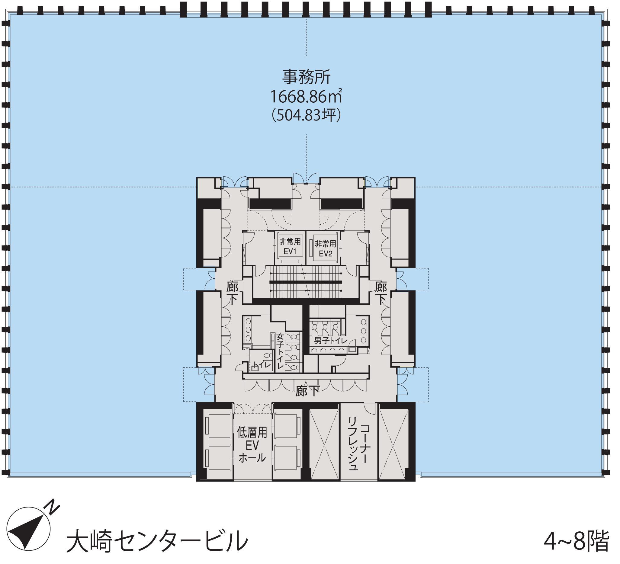 基準階(大崎センタービル4~11階階)