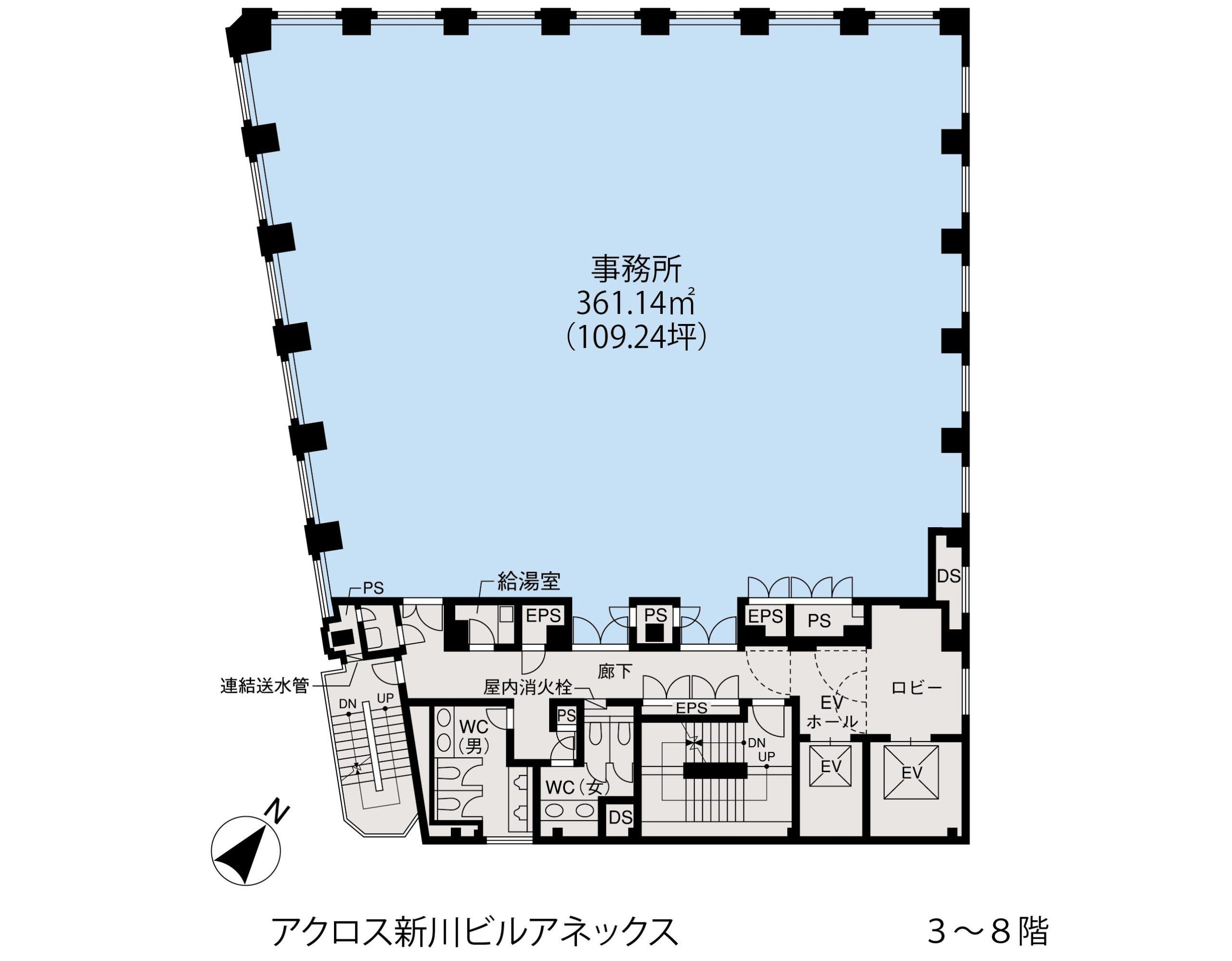 基準階(アクロス新川ビル・アネックス3~8階階)