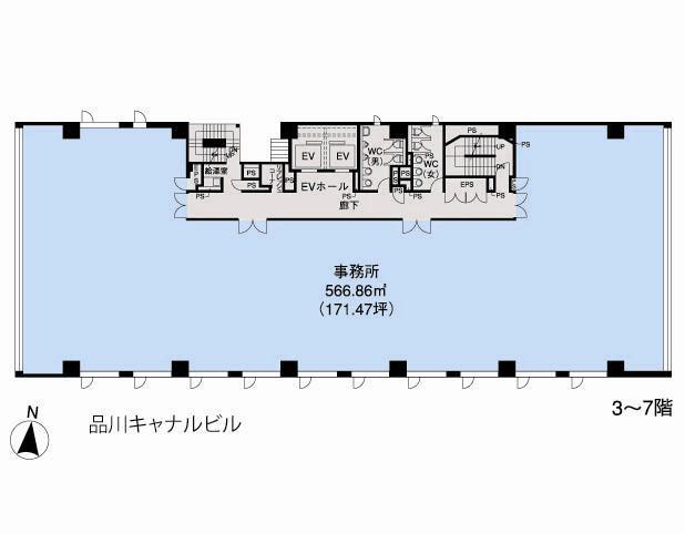 基準階(品川キャナルビル3~7階階)