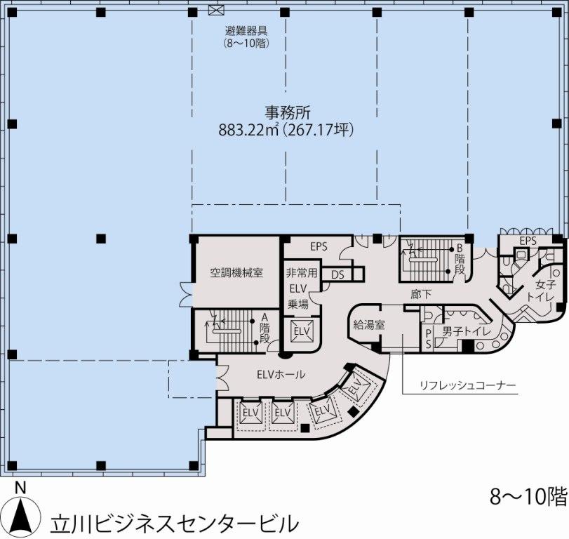基準階(立川ビジネスセンタービル8~10階階)